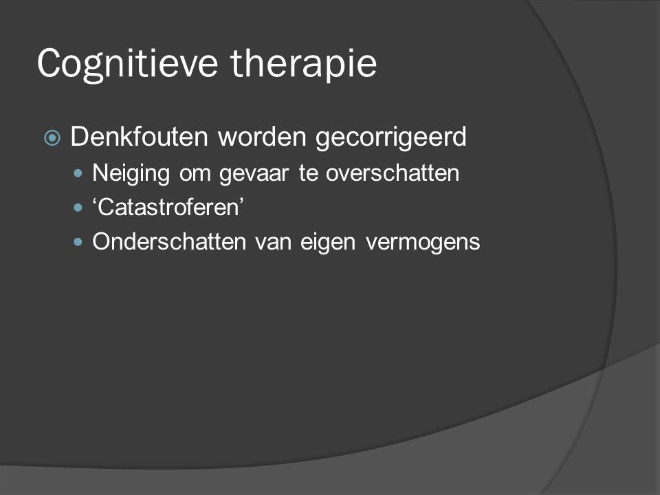 Cognitieve therapie  Denkfouten worden gecorrigeerd Neiging om gevaar te overschatten 'Catastroferen' Onderschatten van eigen vermogens