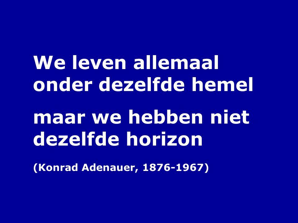 We leven allemaal onder dezelfde hemel maar we hebben niet dezelfde horizon (Konrad Adenauer, 1876-1967)