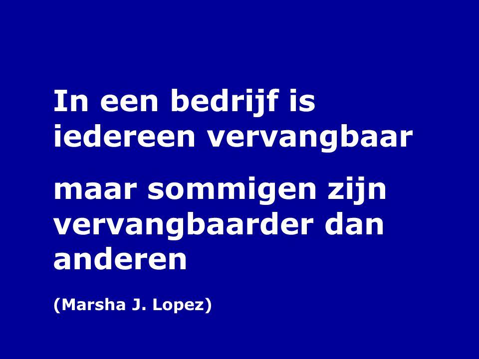 In een bedrijf is iedereen vervangbaar maar sommigen zijn vervangbaarder dan anderen (Marsha J. Lopez)