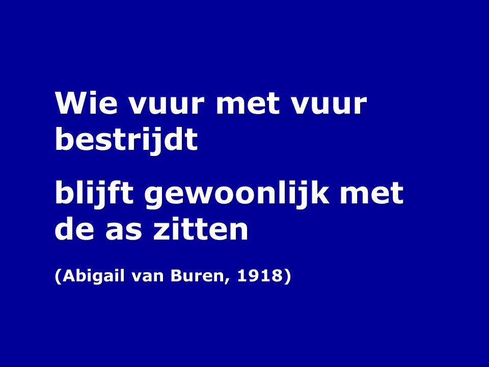 Wie vuur met vuur bestrijdt blijft gewoonlijk met de as zitten (Abigail van Buren, 1918)