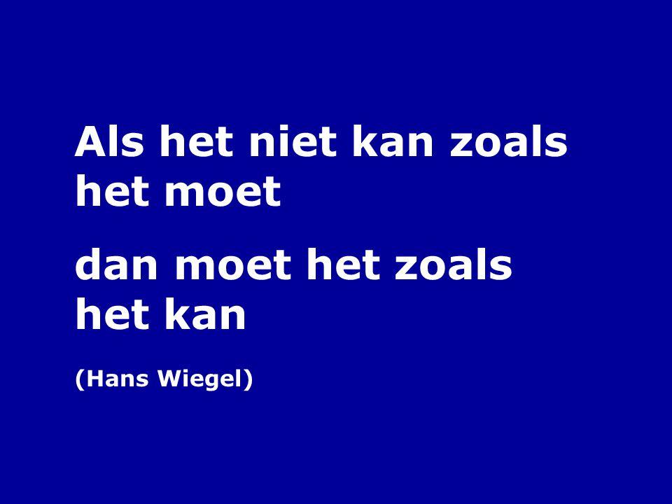 Als het niet kan zoals het moet dan moet het zoals het kan (Hans Wiegel)