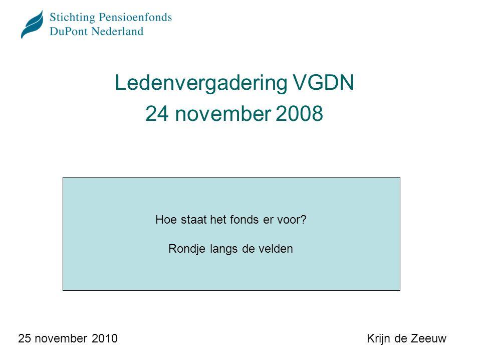 Krijn de Zeeuw25 november 2010 Ledenvergadering VGDN 24 november 2008 Hoe staat het fonds er voor.