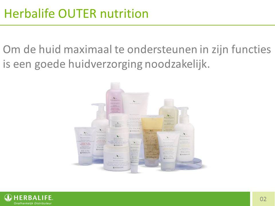 Herbalife OUTER nutrition 02 Om de huid maximaal te ondersteunen in zijn functies is een goede huidverzorging noodzakelijk.