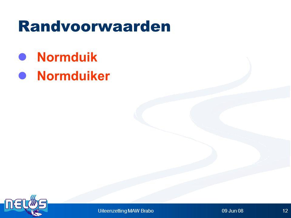 09 Jun 08Uiteenzetting MAW Brabo12 Randvoorwaarden Normduik Normduiker