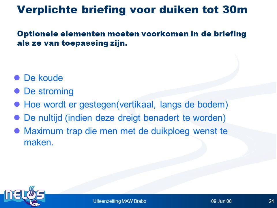 09 Jun 08Uiteenzetting MAW Brabo24 Verplichte briefing voor duiken tot 30m Optionele elementen moeten voorkomen in de briefing als ze van toepassing zijn.