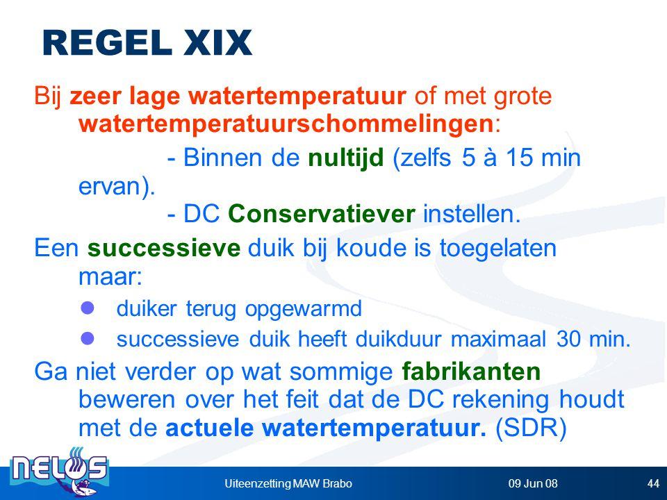 09 Jun 08Uiteenzetting MAW Brabo44 REGEL XIX Bij zeer lage watertemperatuur of met grote watertemperatuurschommelingen: - Binnen de nultijd (zelfs 5 à 15 min ervan).