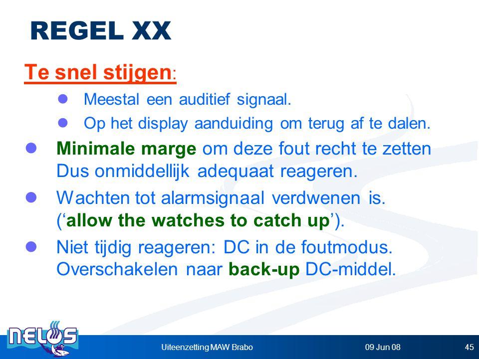 09 Jun 08Uiteenzetting MAW Brabo45 REGEL XX Te snel stijgen : Meestal een auditief signaal.