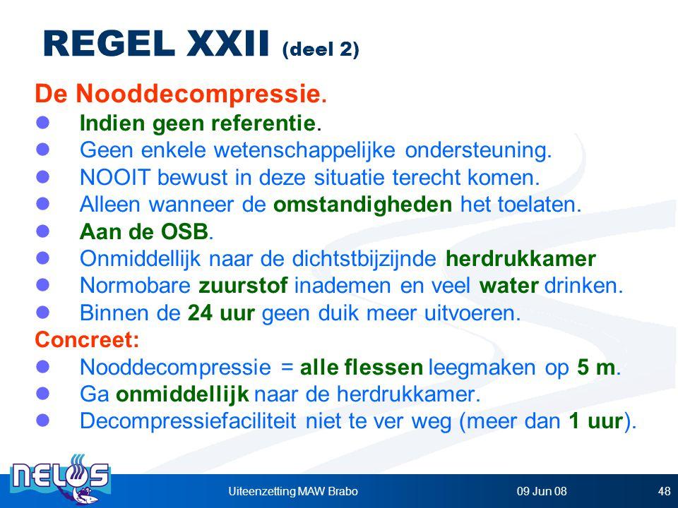 09 Jun 08Uiteenzetting MAW Brabo48 REGEL XXII (deel 2) De Nooddecompressie.