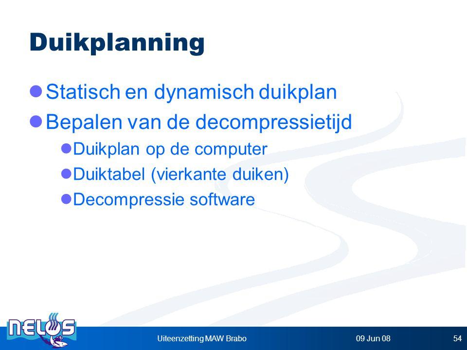 09 Jun 08Uiteenzetting MAW Brabo54 Duikplanning Statisch en dynamisch duikplan Bepalen van de decompressietijd Duikplan op de computer Duiktabel (vierkante duiken) Decompressie software