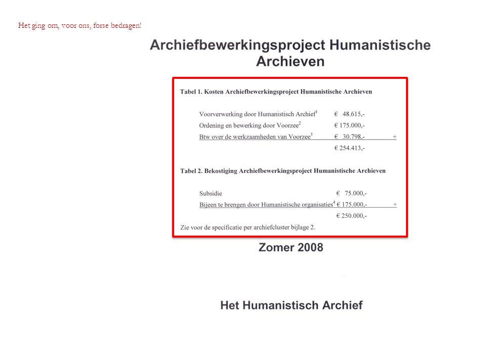 Tijdens ons 12 ½ jarig bestaan (2009) ondertekenden Het Humanistisch Archief (Bert Gasenbeek, rechts) en Het Utrechts Archief (rijksarchivaris Kaj van Vliet) de overdrachtsovereenkomst voor de archieven.