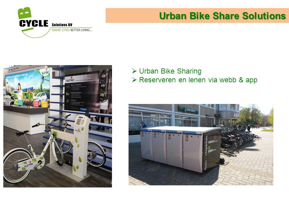 Urban Bike Share Solutions  Urban Bike Sharing  Reserveren en lenen via webb & app