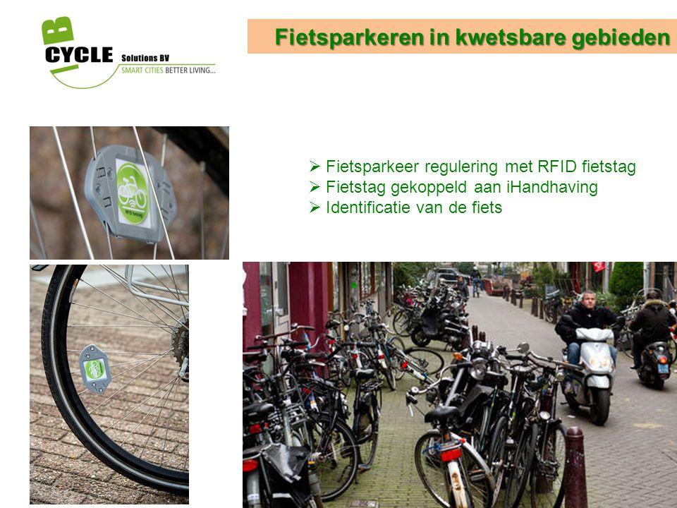 Fietsparkeren in kwetsbare gebieden  Fietsparkeer regulering met RFID fietstag  Fietstag gekoppeld aan iHandhaving  Identificatie van de fiets