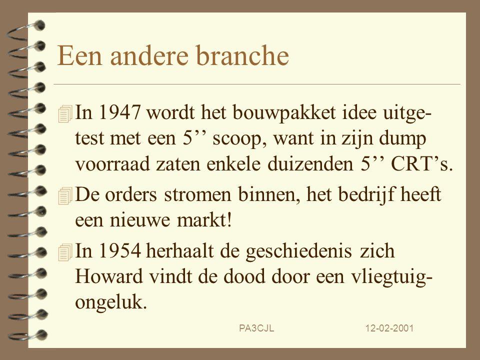 12-02-2001PA3CJL Een nieuw begin. 4 In 1935 koopt de jonge ingenieur Howard Anthony het bedrijf tijdens een veiling. 4 Na de oorlog koopt hij een grot