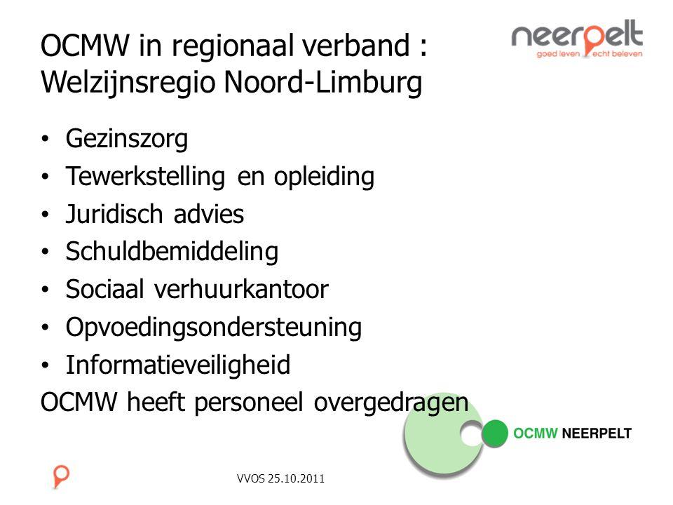 VVOS 25.10.2011 OCMW in regionaal verband : Welzijnsregio Noord-Limburg Gezinszorg Tewerkstelling en opleiding Juridisch advies Schuldbemiddeling Soci