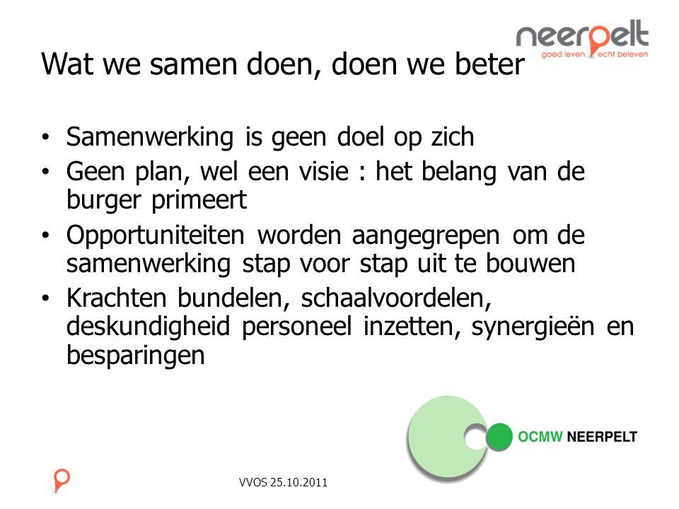 VVOS 25.10.2011 Wat we samen doen, doen we beter Samenwerking is geen doel op zich Geen plan, wel een visie : het belang van de burger primeert Opport