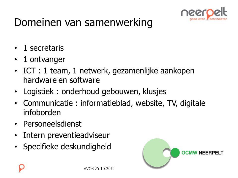 VVOS 25.10.2011 Domeinen van samenwerking 1 secretaris 1 ontvanger ICT : 1 team, 1 netwerk, gezamenlijke aankopen hardware en software Logistiek : ond