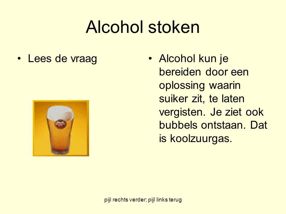 pijl rechts verder; pijl links terug Alcohol stoken Lees de vraagAlcohol kun je bereiden door een oplossing waarin suiker zit, te laten vergisten.