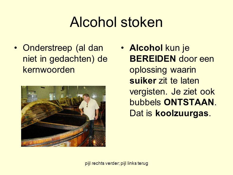 pijl rechts verder; pijl links terug Alcohol stoken Onderstreep (al dan niet in gedachten) de kernwoorden Alcohol kun je BEREIDEN door een oplossing waarin suiker zit te laten vergisten.