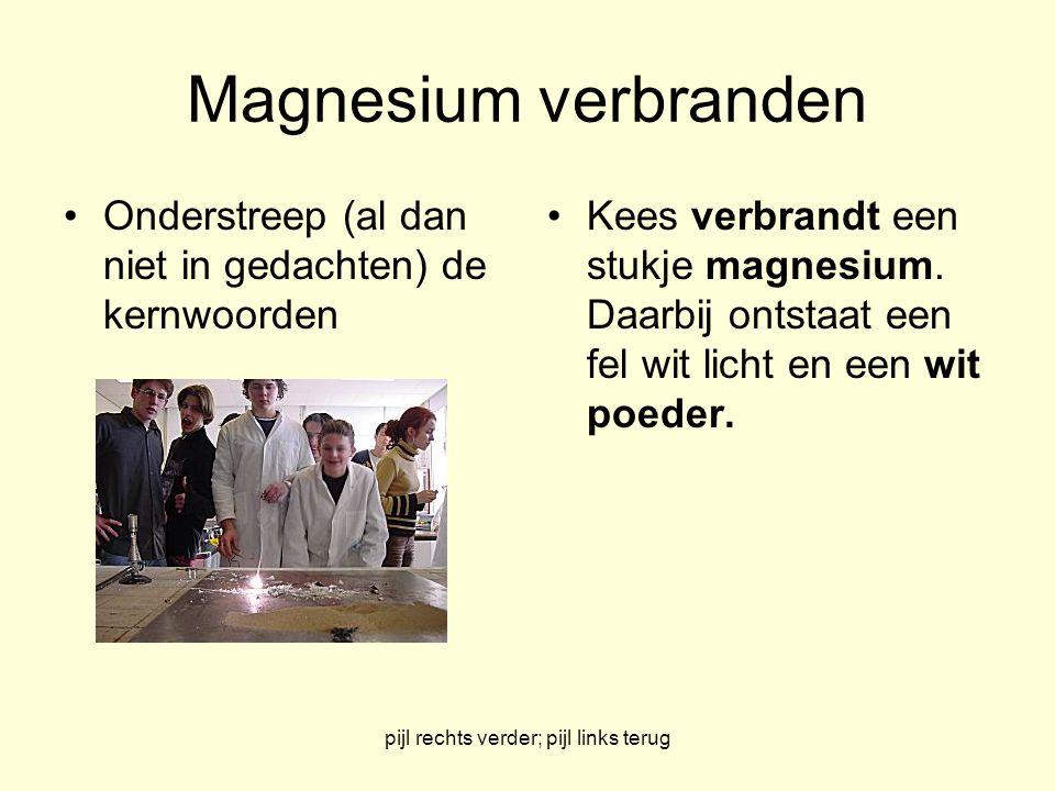 pijl rechts verder; pijl links terug Magnesium verbranden Onderstreep (al dan niet in gedachten) de kernwoorden Kees verbrandt een stukje magnesium.