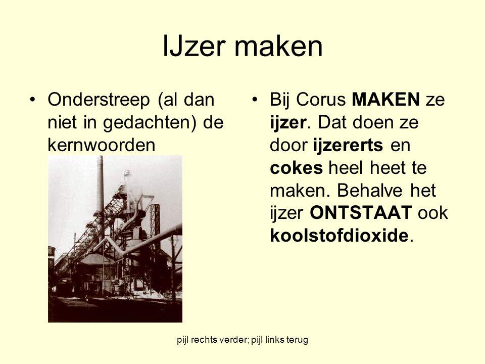 pijl rechts verder; pijl links terug IJzer maken Maak een lijstje van de beginstoffen en de reactieproducten Beginstoffen: ijzererts en cokes Reactieproducten: ijzer en koolstofdioxide