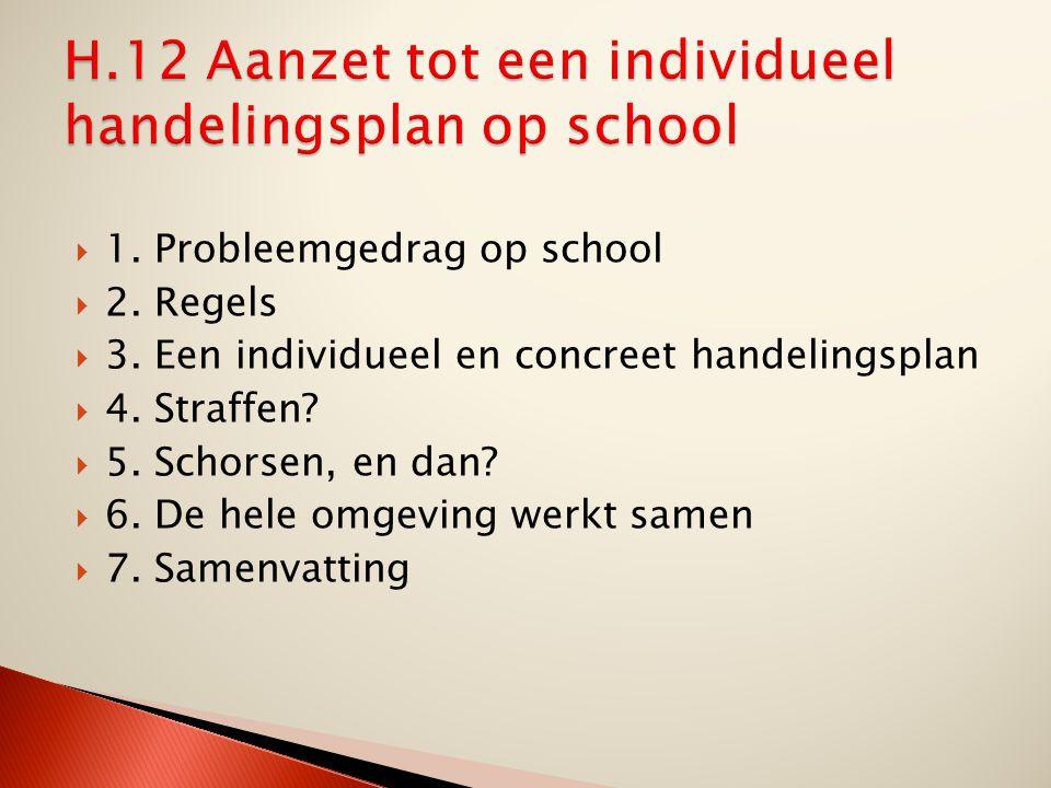  1. Probleemgedrag op school  2. Regels  3. Een individueel en concreet handelingsplan  4. Straffen?  5. Schorsen, en dan?  6. De hele omgeving