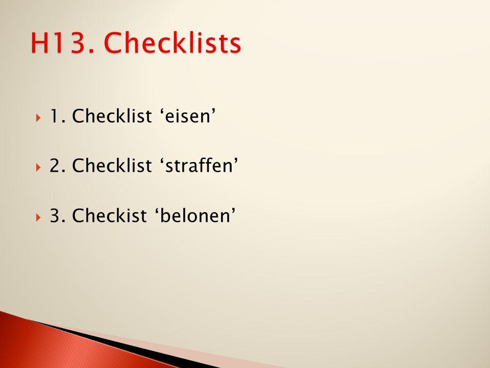  1. Checklist 'eisen'  2. Checklist 'straffen'  3. Checkist 'belonen'