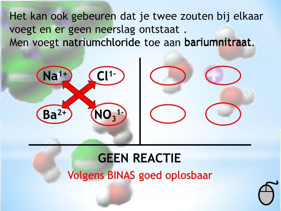 Het kan ook gebeuren dat je twee zouten bij elkaar voegt en er geen neerslag ontstaat. Men voegt natriumchloride toe aan bariumnitraat. natriumchlorid