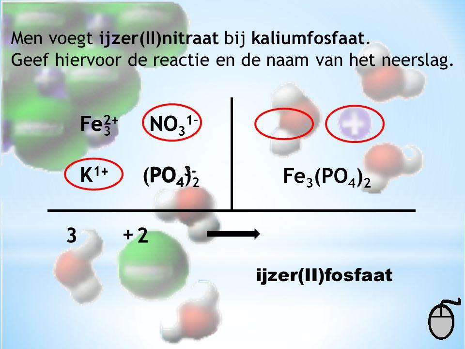 Men voegt ijzer(II)nitraat bij kaliumfosfaat. Geef hiervoor de reactie en de naam van het neerslag. Fe 2+ NO 3 1- K 1+ PO 4 3- (PO 4 ) 2 K 1+ NO 3 1-