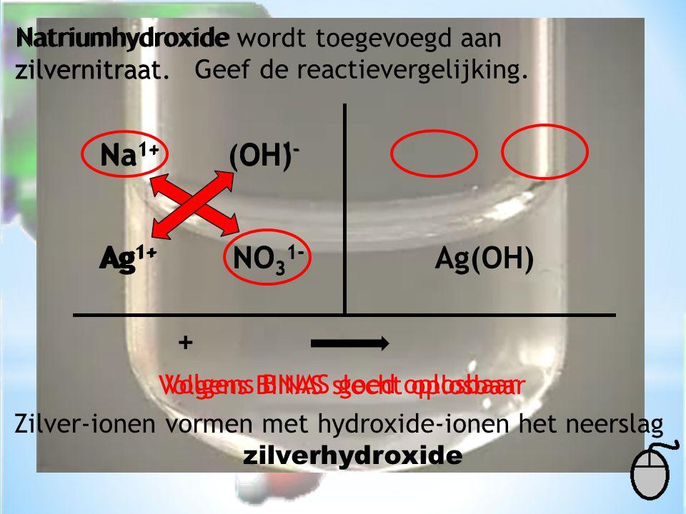 Ag(OH) Natriumhydroxide wordt toegevoegd aan zilvernitraat. Geef de reactievergelijking. Natriumhydroxide zilvernitraat Na 1+ OH 1- Ag 1+ NO 3 1- Volg