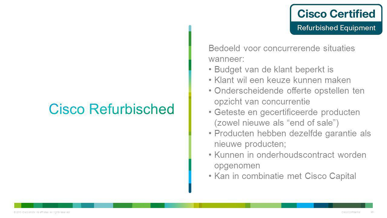 © 2010 Cisco and/or its affiliates. All rights reserved. Cisco Confidential 25 Bedoeld voor concurrerende situaties wanneer: Budget van de klant beper