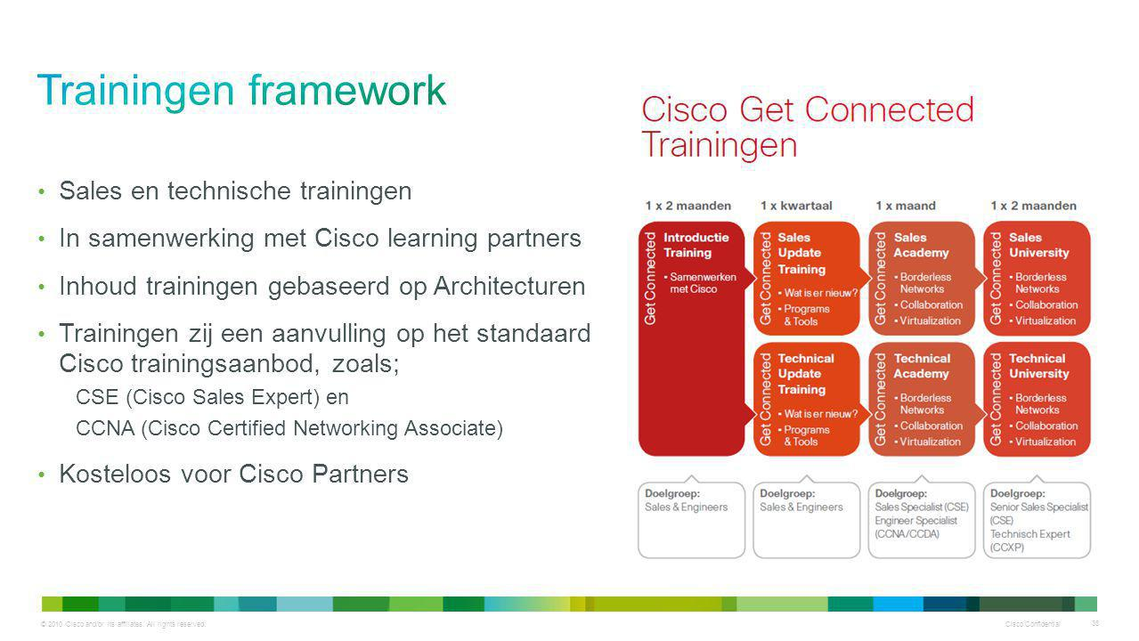 © 2010 Cisco and/or its affiliates. All rights reserved. Cisco Confidential 36 Sales en technische trainingen In samenwerking met Cisco learning partn