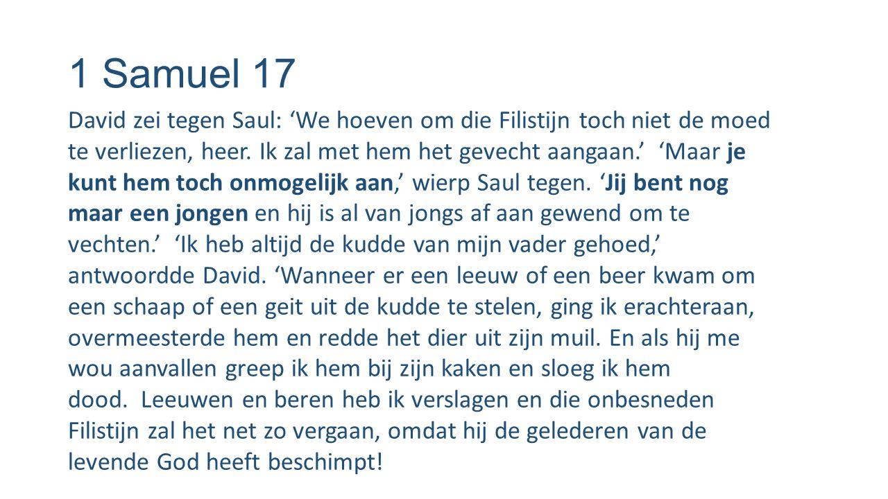 1 Samuel 17 David zei tegen Saul: 'We hoeven om die Filistijn toch niet de moed te verliezen, heer. Ik zal met hem het gevecht aangaan.' 'Maar je kunt