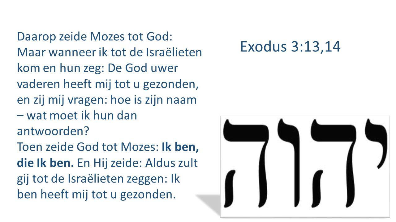 Daarop zeide Mozes tot God: Maar wanneer ik tot de Israëlieten kom en hun zeg: De God uwer vaderen heeft mij tot u gezonden, en zij mij vragen: hoe is zijn naam – wat moet ik hun dan antwoorden.