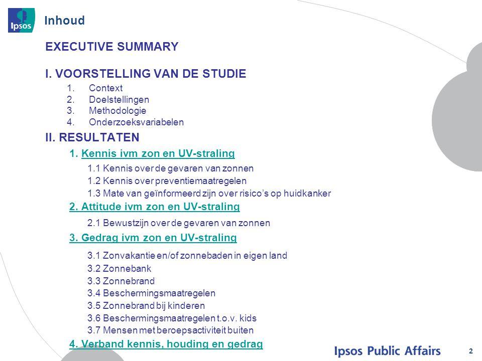 Inhoud 2 EXECUTIVE SUMMARY I. VOORSTELLING VAN DE STUDIE 1.Context 2.Doelstellingen 3.Methodologie 4.Onderzoeksvariabelen II. RESULTATEN 1. Kennis ivm