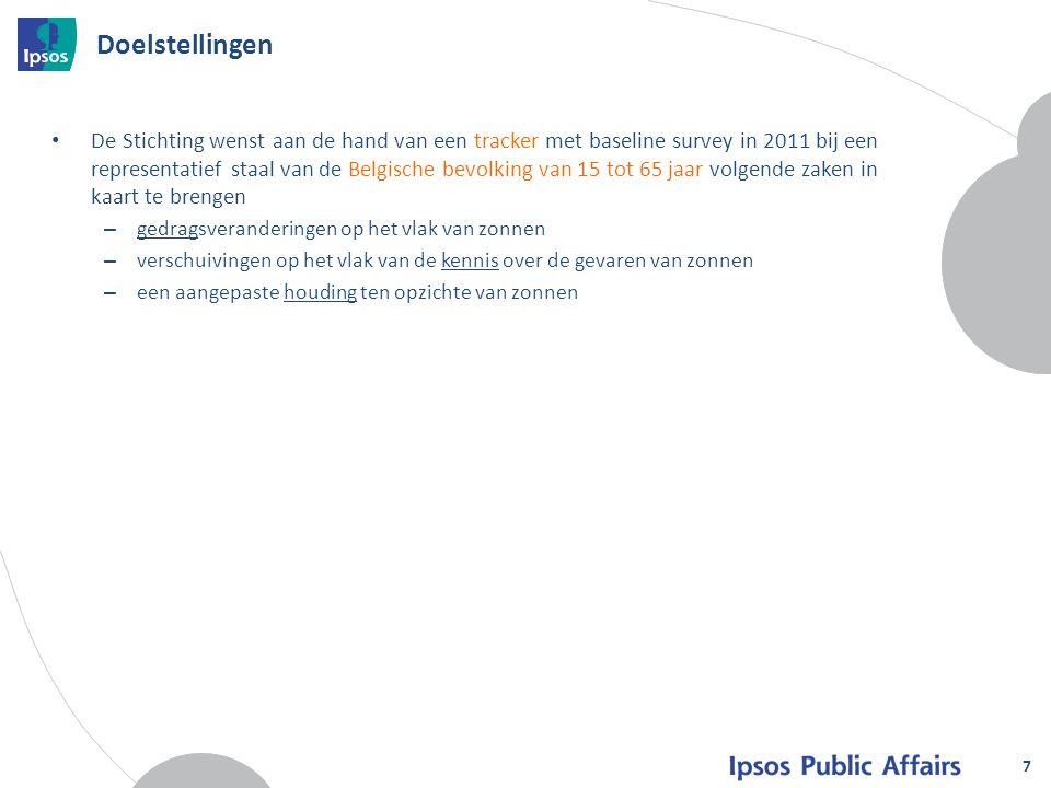 7 Doelstellingen De Stichting wenst aan de hand van een tracker met baseline survey in 2011 bij een representatief staal van de Belgische bevolking va