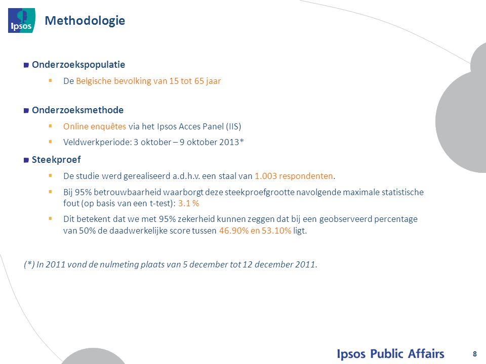 8 Methodologie Onderzoekspopulatie  De Belgische bevolking van 15 tot 65 jaar Onderzoeksmethode  Online enquêtes via het Ipsos Acces Panel (IIS)  V