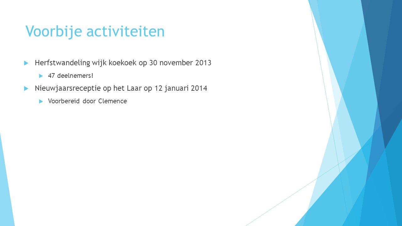 Voorbije activiteiten  Herfstwandeling wijk koekoek op 30 november 2013  47 deelnemers!  Nieuwjaarsreceptie op het Laar op 12 januari 2014  Voorbe