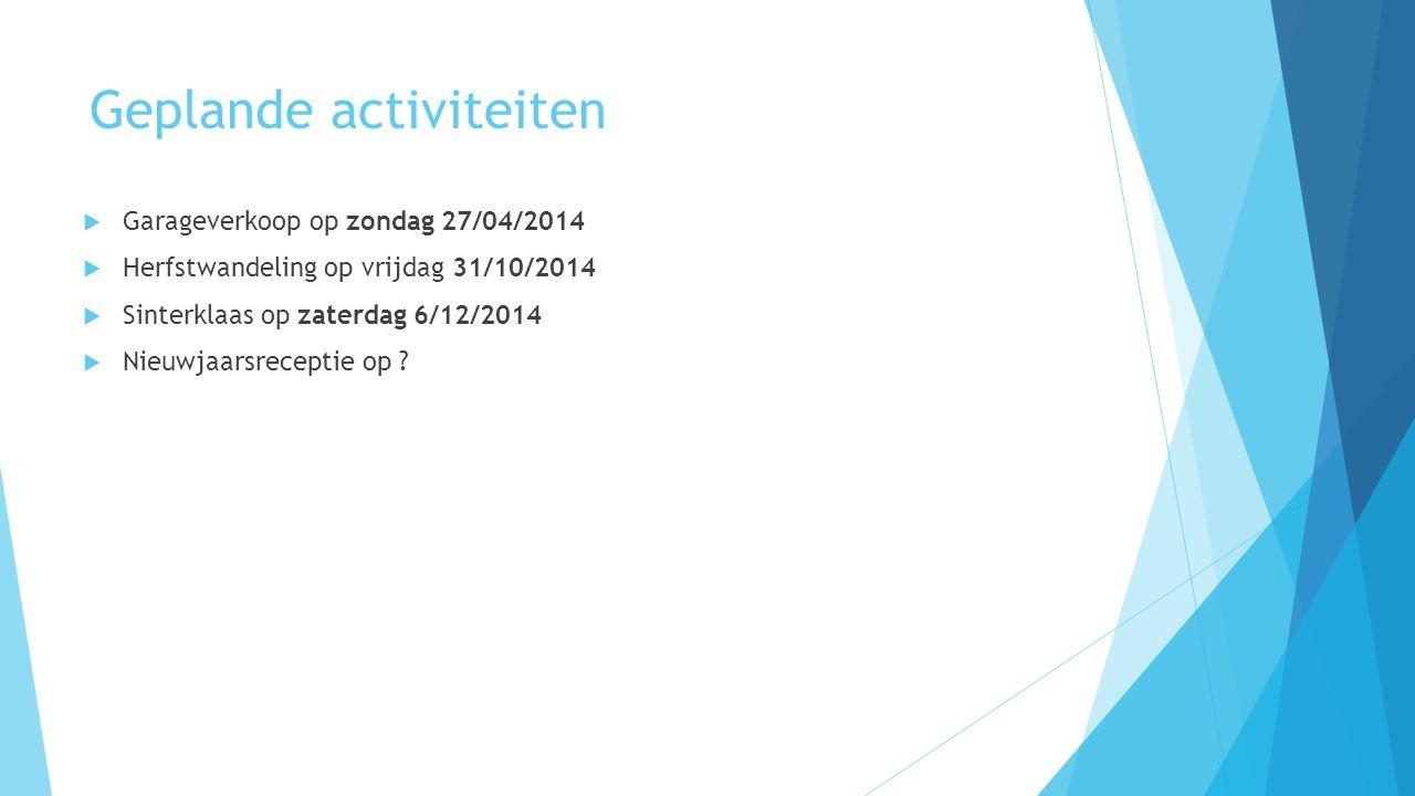 Geplande activiteiten  Garageverkoop op zondag 27/04/2014  Herfstwandeling op vrijdag 31/10/2014  Sinterklaas op zaterdag 6/12/2014  Nieuwjaarsrec