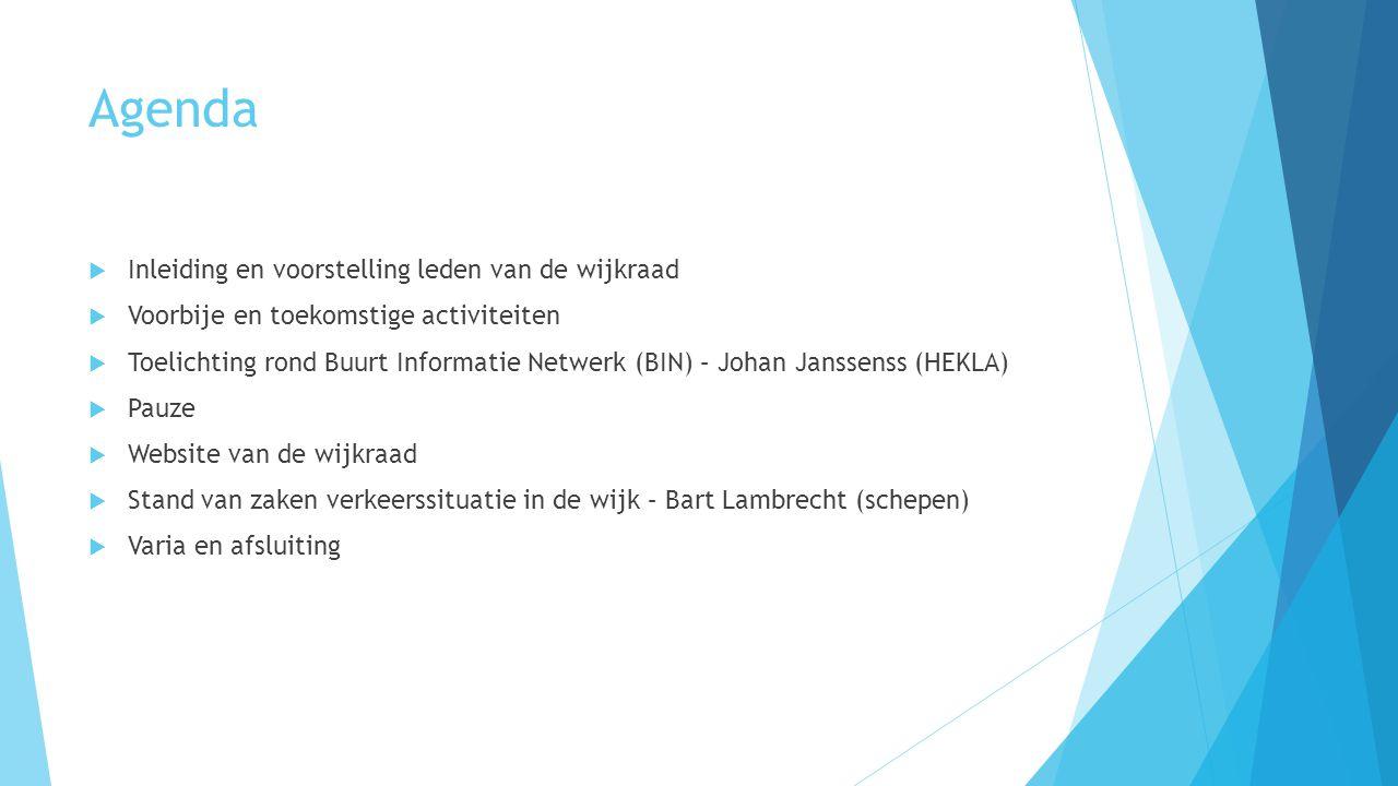 Agenda  Inleiding en voorstelling leden van de wijkraad  Voorbije en toekomstige activiteiten  Toelichting rond Buurt Informatie Netwerk (BIN) – Jo