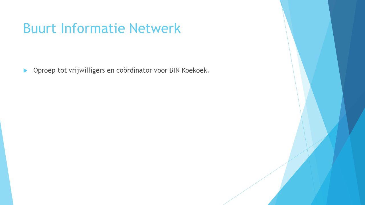 Buurt Informatie Netwerk  Oproep tot vrijwilligers en coördinator voor BIN Koekoek.