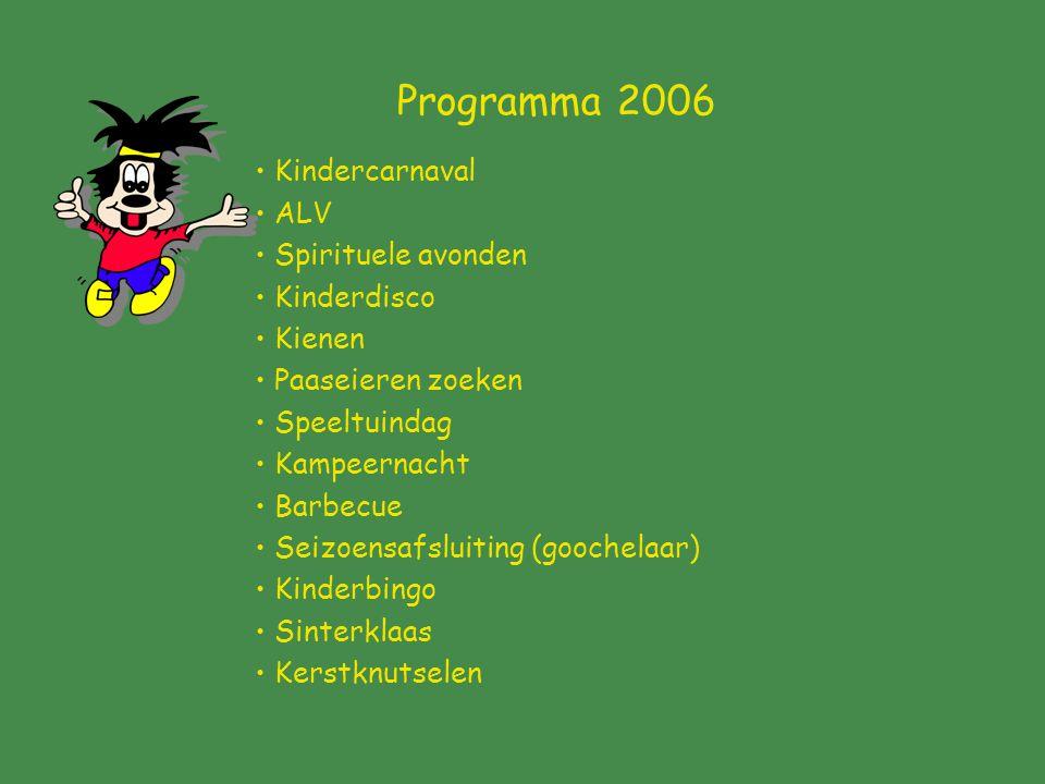 Programma 2006 Kindercarnaval ALV Spirituele avonden Kinderdisco Kienen Paaseieren zoeken Speeltuindag Kampeernacht Barbecue Seizoensafsluiting (goochelaar) Kinderbingo Sinterklaas Kerstknutselen