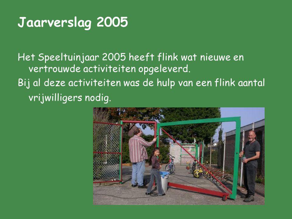 Jaarverslag 2005 Het Speeltuinjaar 2005 heeft flink wat nieuwe en vertrouwde activiteiten opgeleverd. Bij al deze activiteiten was de hulp van een fli