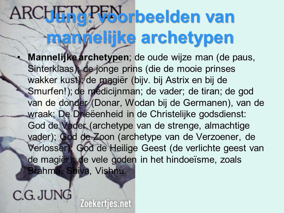 Jung: voorbeelden van mannelijke archetypen Mannelijke archetypen; de oude wijze man (de paus, Sinterklaas); de jonge prins (die de mooie prinses wakk