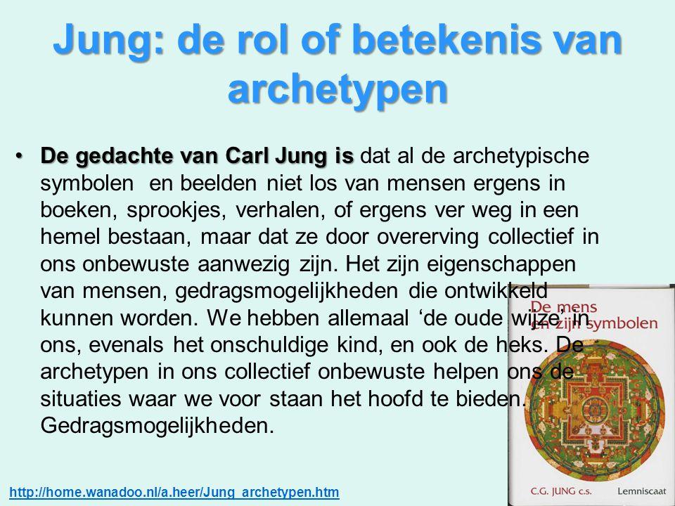 Jung: de rol of betekenis van archetypen De gedachte van Carl Jung isDe gedachte van Carl Jung is dat al de archetypische symbolen en beelden niet los
