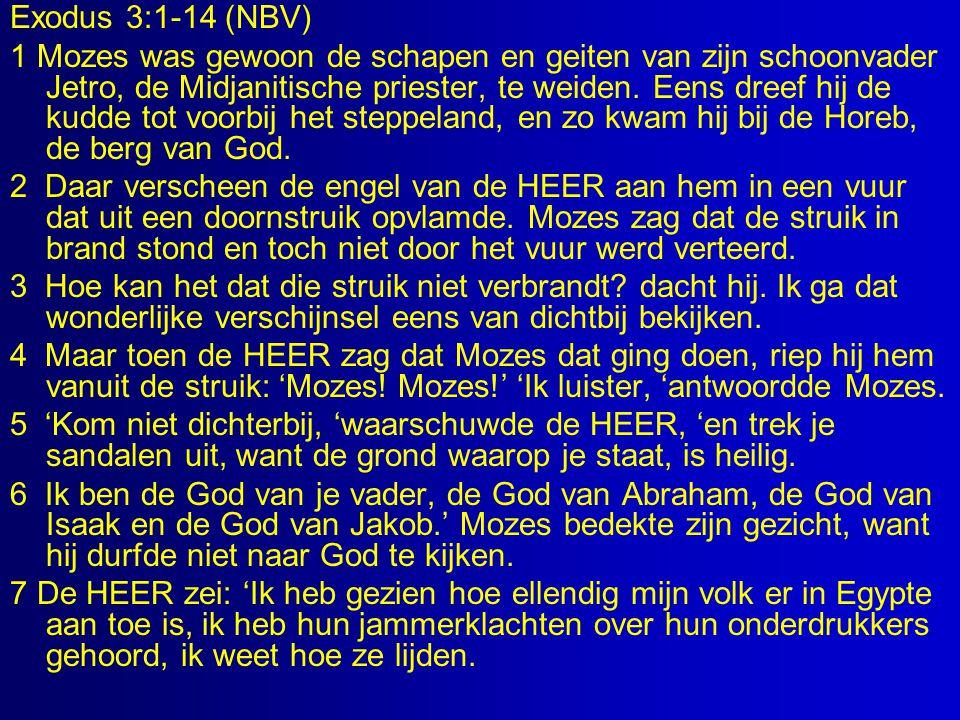 Exodus 3:1-14 (NBV) 1 Mozes was gewoon de schapen en geiten van zijn schoonvader Jetro, de Midjanitische priester, te weiden.