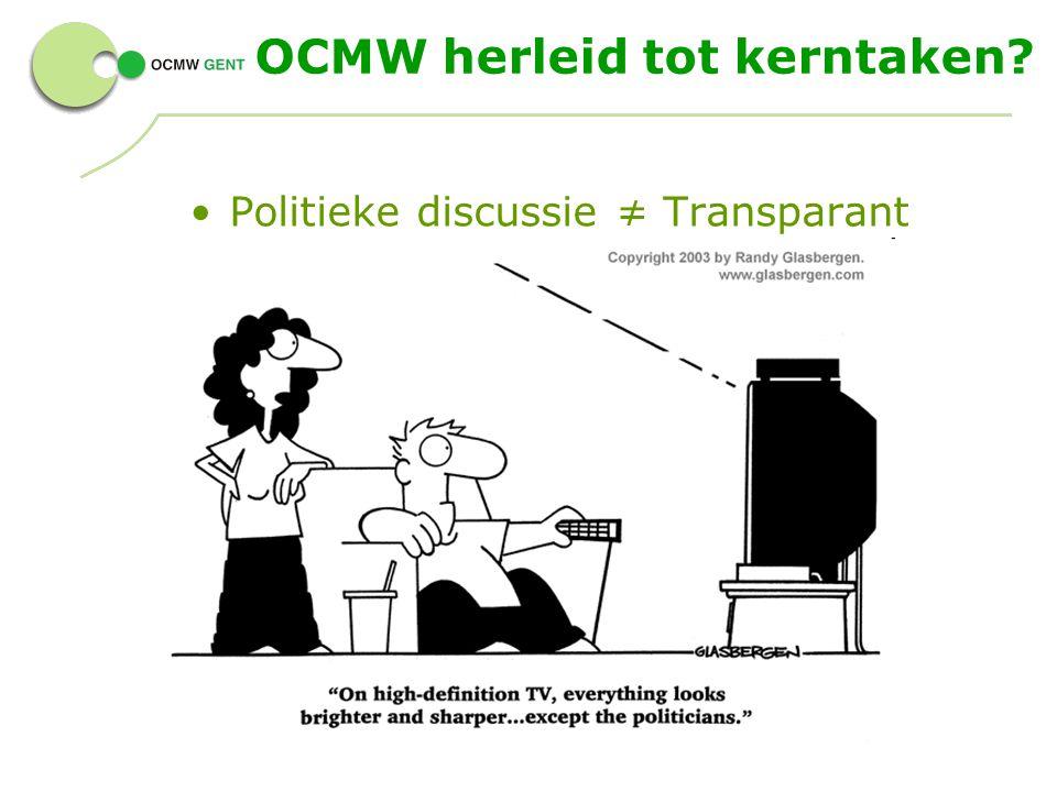 OCMW herleid tot kerntaken? Politieke discussie ≠ Transparant