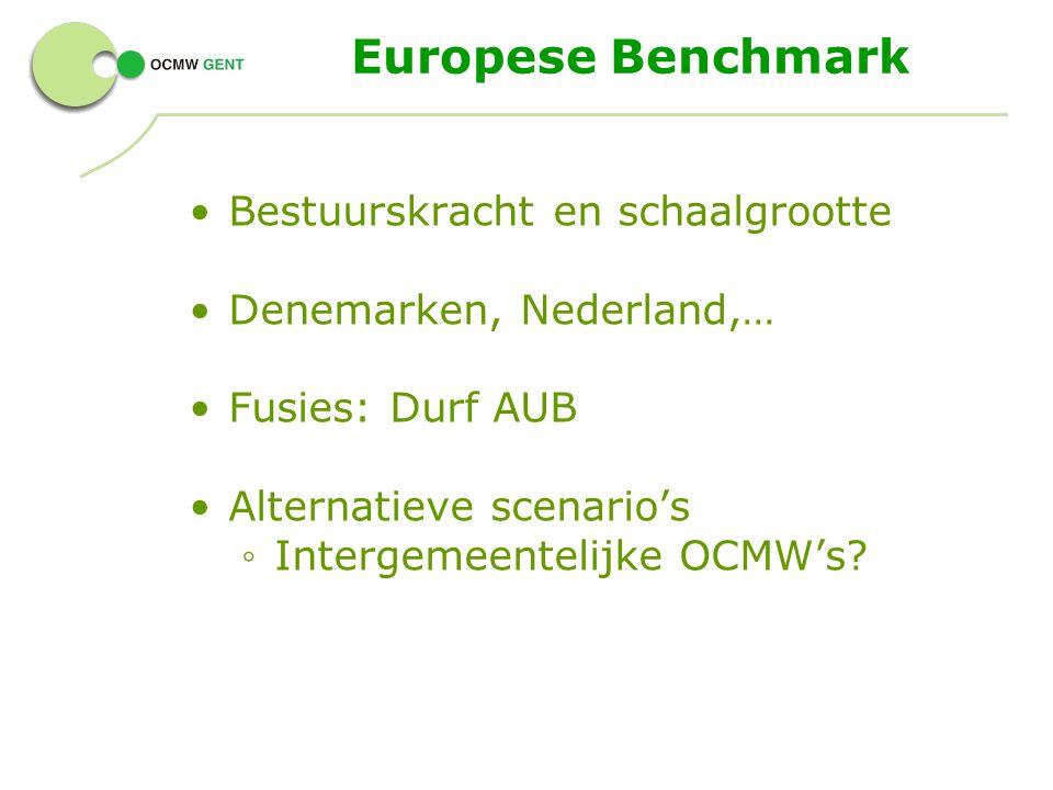 Europese Benchmark Bestuurskracht en schaalgrootte Denemarken, Nederland,… Fusies: Durf AUB Alternatieve scenario's ◦ Intergemeentelijke OCMW's?