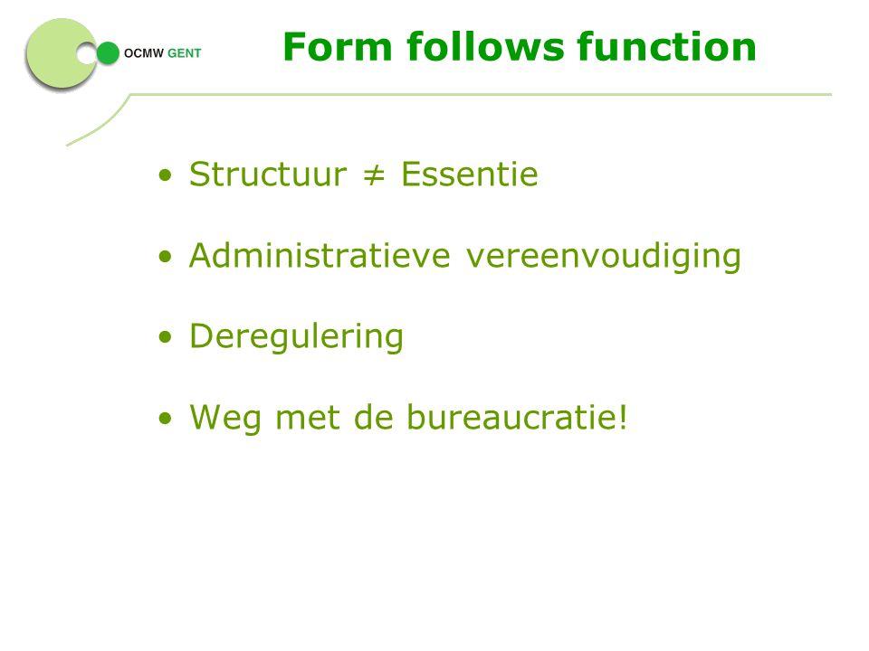 Structuur ≠ Essentie Administratieve vereenvoudiging Deregulering Weg met de bureaucratie! Form follows function