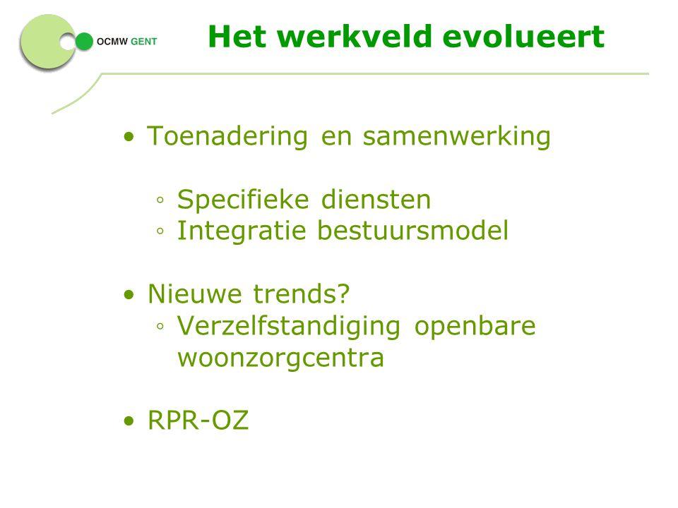 Het werkveld evolueert Toenadering en samenwerking ◦ Specifieke diensten ◦ Integratie bestuursmodel Nieuwe trends.