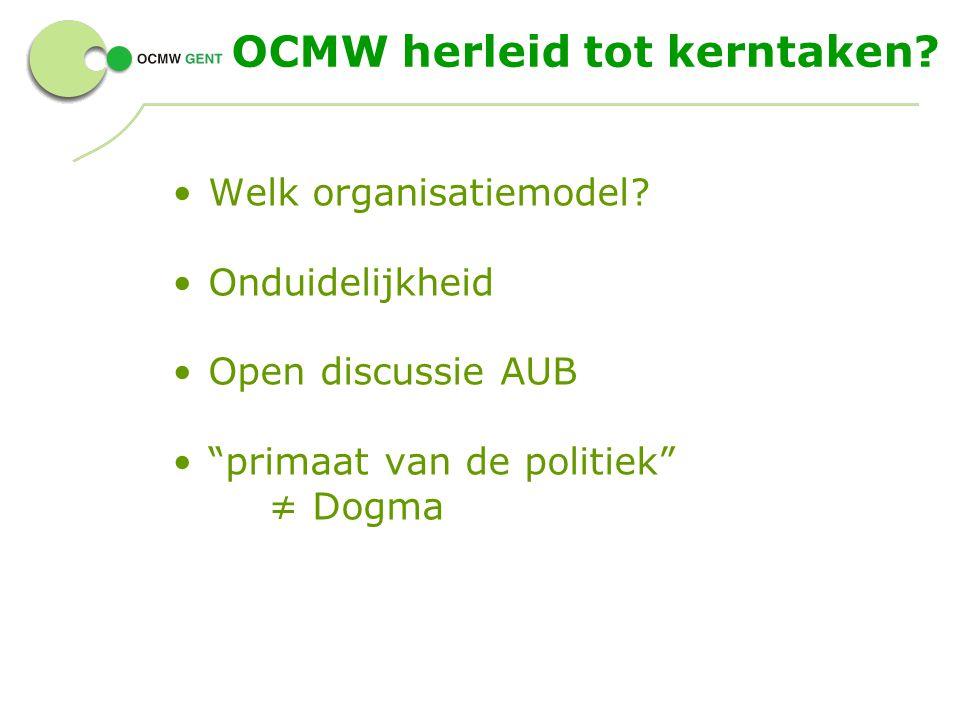 """OCMW herleid tot kerntaken? Welk organisatiemodel? Onduidelijkheid Open discussie AUB """"primaat van de politiek"""" ≠ Dogma"""